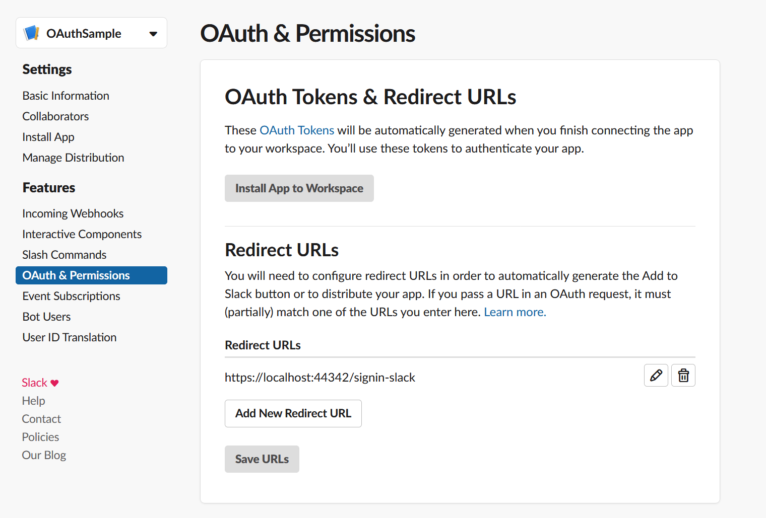 OAuth-slack-redirect-url
